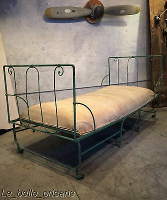 CHARMING 19TH c. WROUGHT IRON FOLDING CAMPAIGN BED / ORIGINAL MATTRESS