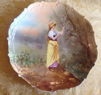 Antique Hand Painted Porcelain Charger Wall Plaque Pretty Woman In Yellow Purple