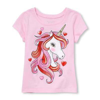 NWT The Childrens Place Valentines Day Unicorn Girls Pink Short Sleeve Shirt