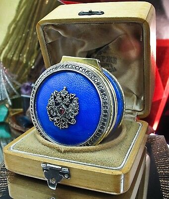 Faberge 916 Silver Guilt guilloche snuff box Diamond studded Anders Mickelsson