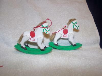 Vintage Pair of Hallmark  WOOD/ WOODEN ROCKING HORSES/ Ornaments