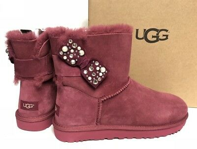 0265229a474 UGG AUSTRALIA MINI Bailey Bow Brilliant Garnet Red Shearling Suede 1019725  Bling