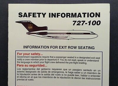 UPS United Parcel Service Airlines Passenger Briefing Card B727-100