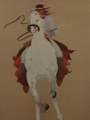 """19x23 NATIVE AMERICAN ART Lee Roy Joshua LIGHT HORSEMAN """"81"""" Numbered and Signed"""