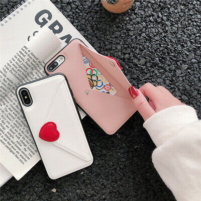 For iPhone 11 Pro Max XS XR X 8 7 Leather Card Holder Envelope Wallet Strap Case