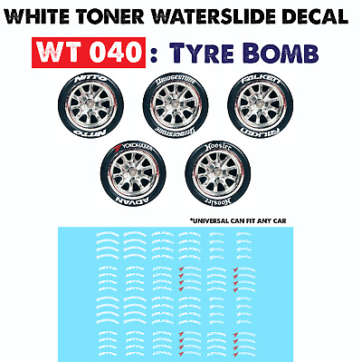 WT040 White Toner Waterslide Decals > TYRE BOMB >For Custom 1:64 Hot Wheels
