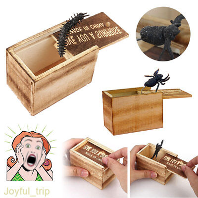 Classic Hilarious Wooden Scare box Joke Spider Prank Bug Scary Toy Scare Box