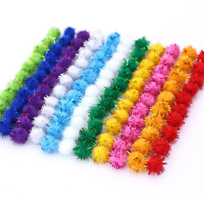 100pcs Glitter Plush Ball Pompom Hair Root Craft Supplies Kids Toys Decorations