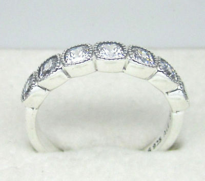 cb72a3c75 #92 New Authentic Pandora Silver Alluring Cushion Ring #191019CZ Size 52 (6)
