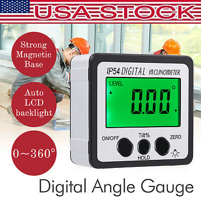 Digital Inclinometer 0-360° Level Box Protractor Angle Finder Bevel Magnet Gauge