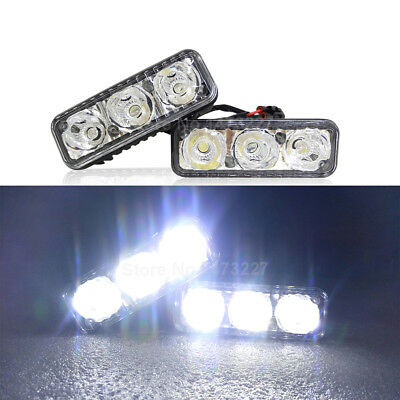 2X 3 LED Super White High Power Car DRL Daytime Running Light Fog Lamp Universal