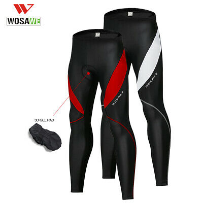 Mens Cycling Long Pants Tights Trousers Bicycle MTB Bike 3D Padded Reflective