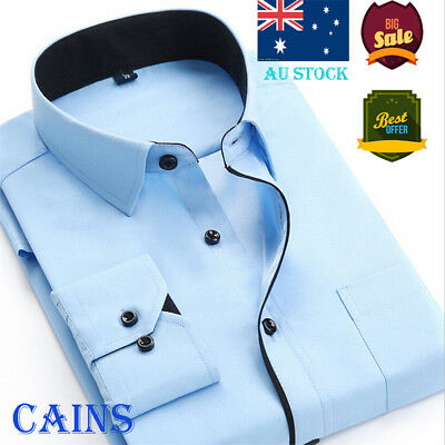 AU Luxury Men's Slim Fit Shirt Long Sleeve Stylish Formal Casual T-shirt Tops