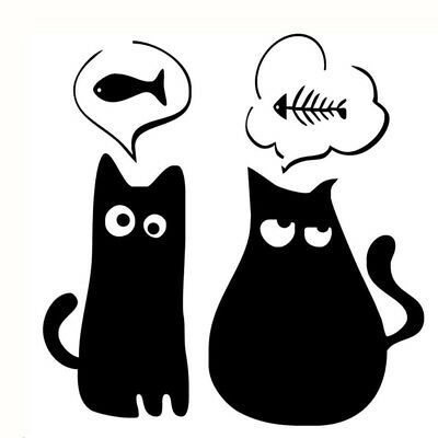 Wall Decal Sticker Art Removable Waterproof Vinyl Transfer Two Black Cats 8C