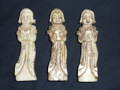 3x Rare 19TH CEN Nice Antique Chinese Finely Carved JADEITE JADE lady figurines
