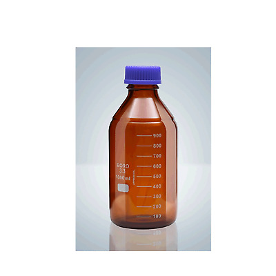 (SIMAX) 1000ml 10 Pack GL45 Reagent Laboratory Bottle, Amber