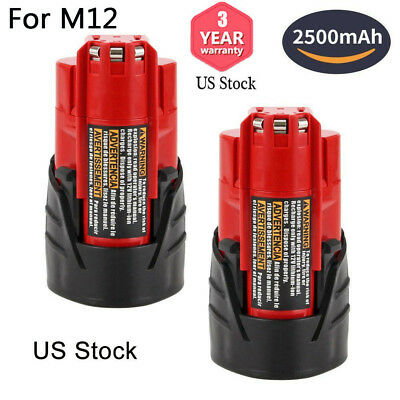 2-Replace for M12 Milwaukee 12V XC Lithium Battery 2500mAH 48-11-2410 48-11-2420