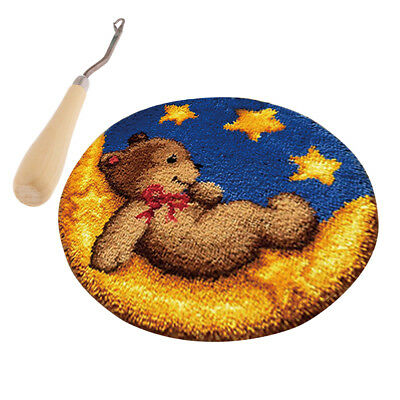 Bear Latch Hook Rug Completed Kit for Adults DIY Needle Cushion Embroidery