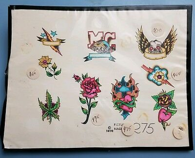 vintage picture machine martynuik produx skull mc rose tattoo flash colors 8x11