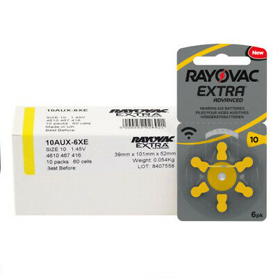 Rayovac Extra Mercury Free Hearing Aid Batteries Size 10 -Free 1st class UK post