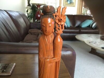 Chinese Mark Antique Guanyin Kwan Yin Catalin Carved Lady Figurine BAKELITE 11""