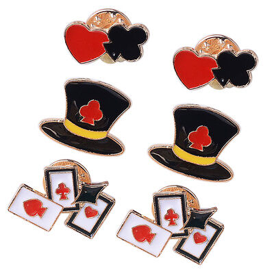 6pcs Cartoon Style Poker Brooch Butterfly Clutch Dress Lapel Pin Collar Pin