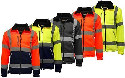 Premium Mens Safety Hi Vis Top Viz Visibility Lined Work Fleece Jacket High Viz