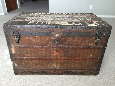 Louis Vuitton Steamer Trunk Authentic Early 1900's Antique Luggage Large Chest