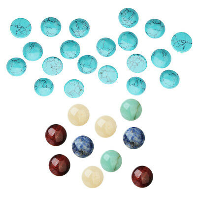 30pcs Domed Flat Back Cabochons Turquoise Natural Beads Embellishment 8/6mm