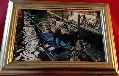 Impressionist Oil on Silk Venice in Winter Signed Renowned Artist Joyce Rowsell