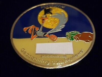 Rare Early Release Geocoin Road Runner / Moose Mob Trackable Unactivated