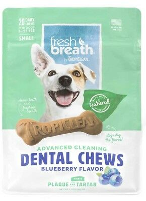 Tropiclean - Pet Fresh Breath - Dental Chews - Advanced Cleaning - Blueberry