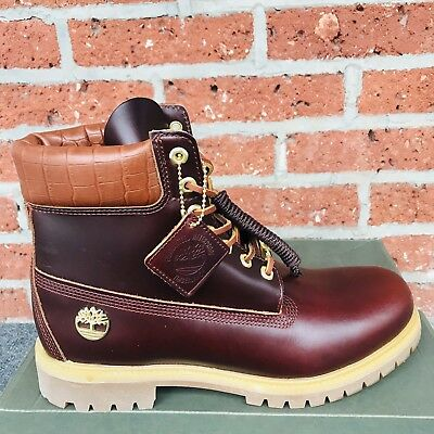 TIMBERLAND EXPLORIOUS BURGUNDY Exotic Reptile Leather Boots