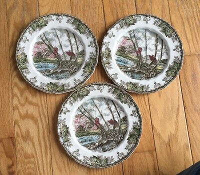 """Willow By The Brook Friendly Village Johnson Brothers 8"""" Salad Plate Lot Of 3"""