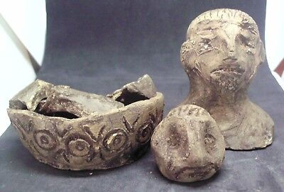 Authentic Celtic Terracotta House Altar And Idols - 400 Bc - Found Together