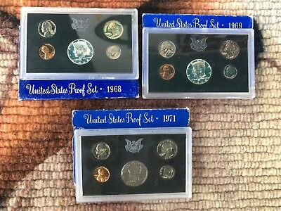 United States Proof Sets Lot of 3 | 1968, 1969,1971 USA Coins Free Shipping!