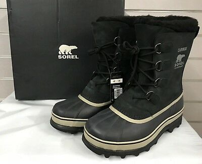 SOREL Men Caribou Waterproof -40* Rated Winter Snow Boot Black/Tusk NWT PickSize