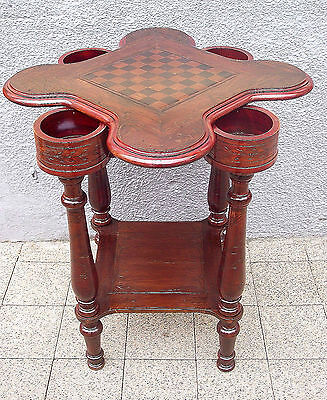 Antique game table with chess plate on the rotating top, Spieltisch