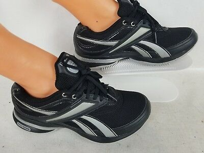 c770752c6efc01 Women s Reebox Easy Tone Black Silver Running Shoes Athletic Sneakers Size 6