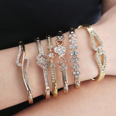 Women Elegant Full Crystal Bracelet Cuff Bangle Men Party Wedding Jewelry Gift