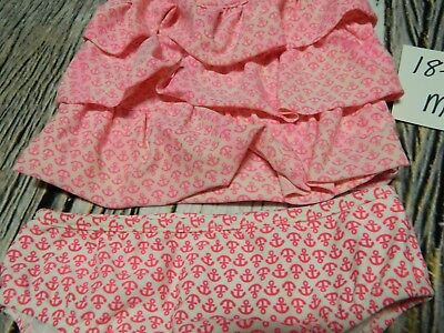 18-24/24 month 2 piece pink anchor ruffle girls bathing suit