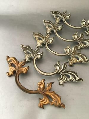 Shabby Vtg Chic Lot White & Gold Cast Brass French Provincial Pull Handle Set