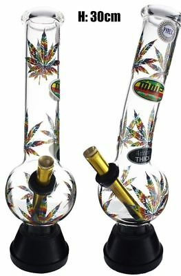 Large Glass Bonza Bubble - Colorful Leaf 30cm Bong Waterpipe Hookah Water Pipe