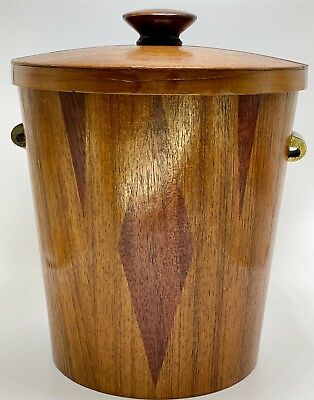 Gorgeous Rare Signed Vegas Retro DANISH MID CENTURY WOOD Inlay ICE BUCKET Atomic