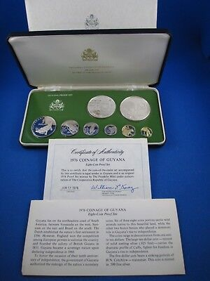 1976 National Coinage Of Guyana. 8 Coin Proof Set