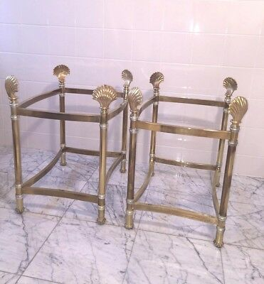 Set of Two (2) Hollywood Regency Style Brass Plated End Tables (No Glass)