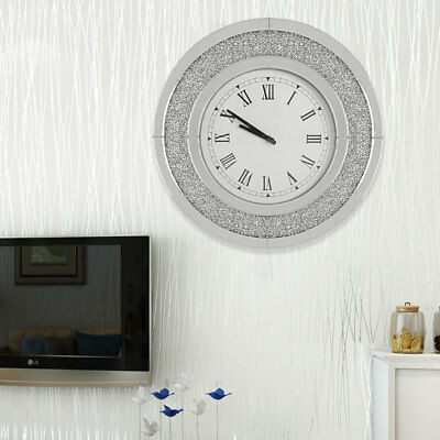 Vintage Analogue Round Wall Clock Sparkly Diamond Crush Crystal Silver Mirrored