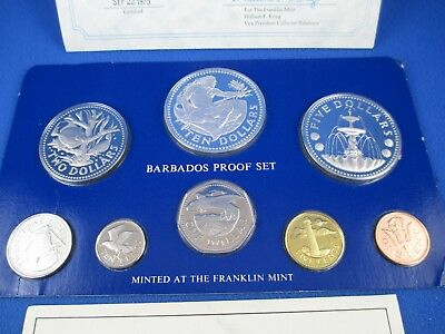 1975 Coinage Of The Barbados. 8 Coin Proof Set