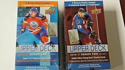 2016-17 Upper Deck Series 1 and 2 Hockey Sealed 12 Pack, 2 Box lot. Matthews RC?