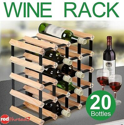 Wine Rack 20 Bottle Timber Wooden Black Steel Storage Cellar Organiser Stand New